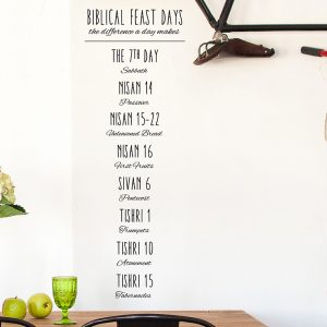 Black wall decor of God's feast days in the bible on dining room wall