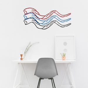 red, blue and black shofar decals on office wall