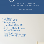 Blue vinyl wall decal of Jeremiah 29:11 for your sitting room or war room