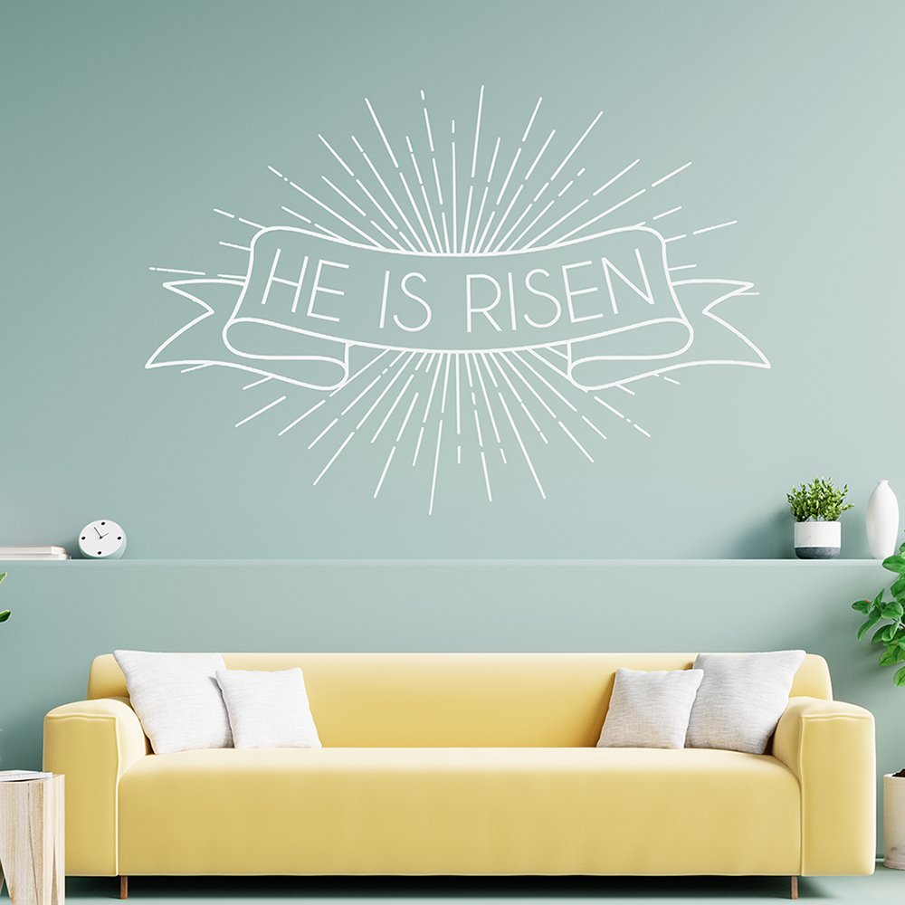 504 – HE IS RISEN -mint wall-white decal- 1000px